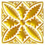 Guld- östlig prydnad bakgrund 3d Royaltyfria Bilder