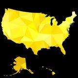 Guld- översikt av Amerikas förenta stater stock illustrationer