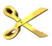 guld 3d scissor Royaltyfria Bilder