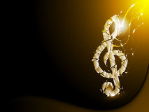 Guld- abstrakt bakgrund splittrad musikalisk anmärkning Royaltyfri Fotografi