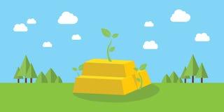 Guld- affärstillväxtinvestering med växande växt- och berggräsplan som bakgrund Arkivfoton