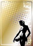 guld- affischvolleyboll för 6 bakgrund Arkivbild