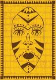Guld- afrikansk maskering royaltyfri illustrationer