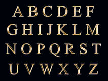 guld- alfabet royaltyfri illustrationer