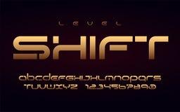 Guld- alfabet för stilfull teknologi, stora bokstavsbokstäver och nummer royaltyfri illustrationer