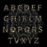 Guld- alfabetjugendstil Royaltyfria Bilder