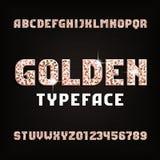 Guld- alfabetstilsort Metall blänker skinande bokstäver och nummer royaltyfri illustrationer