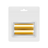 Guld- alkaliska motorförbundetbatterier i blåsa Arkivbilder