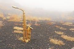 Guld- Alto Saxophone Lies på den svarta bakgrunden Romantiker och royaltyfria bilder