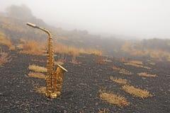 Guld- Alto Saxophone Lies på den svarta bakgrunden Romantiker och royaltyfria foton