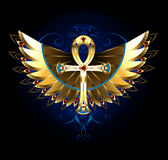 Guld- Ankh med vingar royaltyfri illustrationer