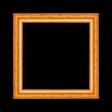 Guld- antik ram som isoleras på svart bakgrund arkivbilder
