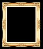 Guld- antika bildramar Isolerat på svart Arkivbild