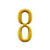 Guld- arabiska för nummer som åtta isoleras på vit bakgrund Arkivbilder