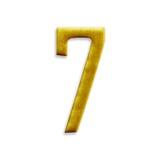 Guld- arabiska för nummer som sju isoleras på vit bakgrund Royaltyfria Foton