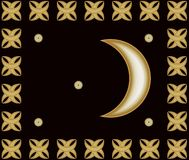 Guld- arabiska halvmånformig och stjärnor Royaltyfri Foto