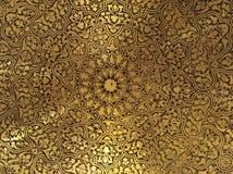 Guld- arabiska orientaliska konstnärliga dekorativa carvings royaltyfria foton