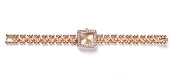guld- armbandsur för gems Royaltyfri Bild