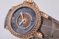 Guld- armbandsur med den gr?a visartavlan med modeller, guld- medurs, chronograph p? bruntl?derrem p? vit bakgrund arkivfoton