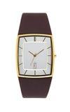 Guld- armbandsur som isoleras på vit med den snabba banan Royaltyfri Fotografi