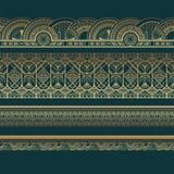 Guld- art décogränser på mörk turkosbakgrund royaltyfri illustrationer