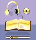 Guld- Audiobook vektor Art Icon Play bokframstegstången Royaltyfria Foton