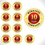 Guld- av högsta kvalitet garantiemblem från 1 till den 10 år vektorn eps 10 Royaltyfria Bilder
