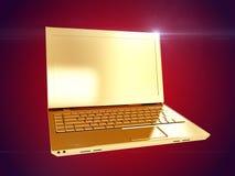 guld- bärbar dator framförande 3d Royaltyfri Fotografi