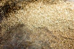 Guld- bakgrund - damm av guld över svart bakgrund Fotografering för Bildbyråer