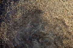 Guld- bakgrund - damm av guld över svart bakgrund Arkivfoto