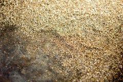 Guld- bakgrund - damm av guld över svart bakgrund Royaltyfri Foto