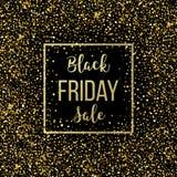 Guld- bakgrund för Black Friday försäljningsbokstäver Mall för din design, inbjudan, reklamblad, kort, gåva, kupong stock illustrationer