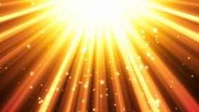 Guld- bakgrund för ljusa strålar stock illustrationer