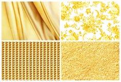 Guld- bakgrund för samling, silke, guld- ros, guld och guld Royaltyfria Foton