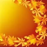 Guld- bakgrund för abstrakt natur med bladnedgången Arkivbilder