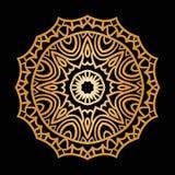 Guld- bakgrund i formen av en blomma Österlänningen mönstrar Arkivbild