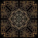 Guld- bakgrund i formen av en blomma dekorativ elementtappning orientaliskt Arkivfoto