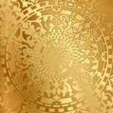 Guld- bakgrund med orientalisk garnering stock illustrationer