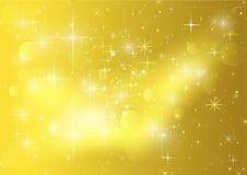 Guld- bakgrund med stjärnor och tomtebloss Fotografering för Bildbyråer