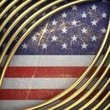 Guld- bakgrund som målas till USA-flaggan Arkivfoton