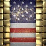 Guld- bakgrund som målas till USA-flaggan Royaltyfria Foton