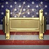 Guld- bakgrund som målas till USA-flaggan Arkivfoto