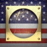 Guld- bakgrund som målas till USA-flaggan Arkivbild