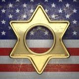 Guld- bakgrund som målas till USA-flaggan Royaltyfri Bild