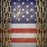 Guld- bakgrund som målas till USA-flaggan Royaltyfria Bilder