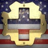 Guld- bakgrund som målas till USA-flaggan Royaltyfri Fotografi