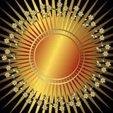 guld- bakgrundsblackblomma royaltyfri illustrationer