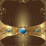 Guld- bakgrundskort stock illustrationer