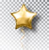 Guld- ballong för stjärna på genomskinlig bakgrund Garnering för design för händelse för partiheliumballonger Ballongluft stock illustrationer