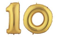 Guld- ballong tio Fotografering för Bildbyråer